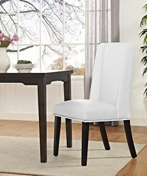 Modway MO Baron Modern Tall Back Wood Faux Leather Upholstered Dining Chair White 0 2 300x360