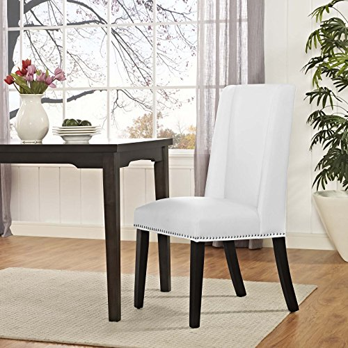 Modway MO Baron Modern Tall Back Wood Faux Leather Upholstered Dining Chair White 0 2