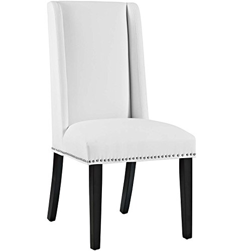 Modway MO Baron Modern Tall Back Wood Faux Leather Upholstered Dining Chair White 0