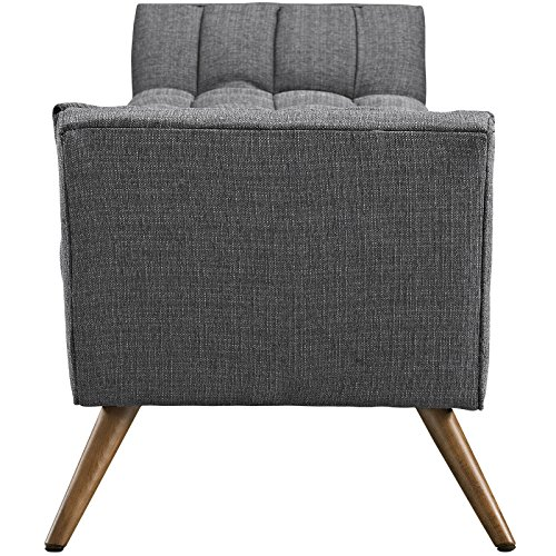 Modway Response Mid Century Modern Bench Large Upholstered Fabric In Gray 0 0