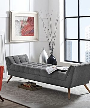 Modway Response Mid Century Modern Bench Large Upholstered Fabric In Gray 0 3 300x360