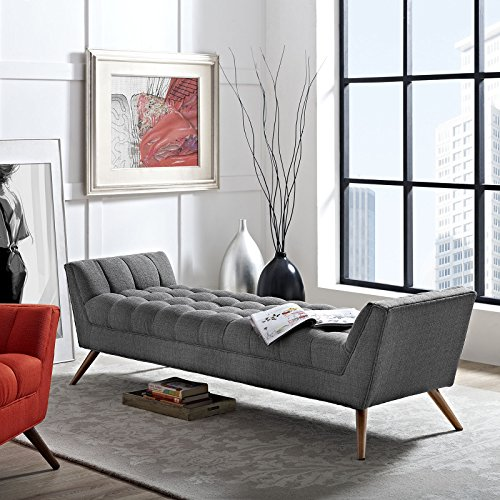 Modway Response Mid Century Modern Bench Large Upholstered Fabric In Gray 0 3