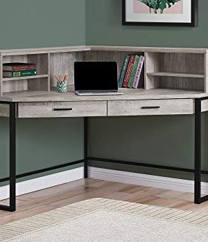 Monarch Specialties Corner Desk With Hutch Storage Home Office Laptop PC Study Table Workstation 48 L Taupe Reclaimed Wood Look 0 300x350