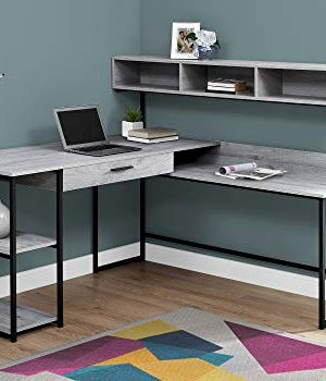 Monarch Specialties Workstation For Home Office With Multiple Shelves And Drawer L Shaped Corner Desk With Hutch 60 L GreyBlack Frame 0 300x350