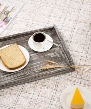 MyGift 16 X 12 Inch Rustic Torched Wood Breakfast Serving Tray With Cutout Handles 0 1 300x360