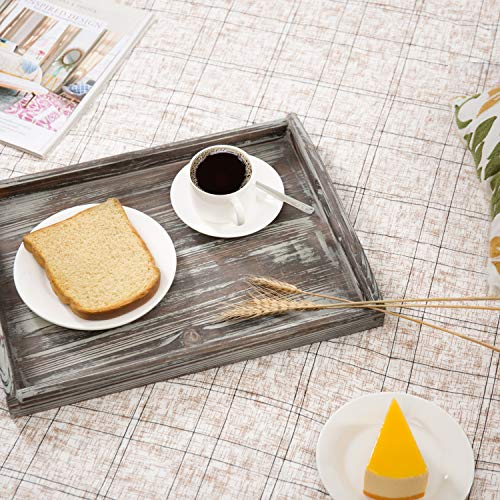 MyGift 16 X 12 Inch Rustic Torched Wood Breakfast Serving Tray With Cutout Handles 0 1