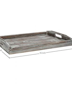 MyGift 16 X 12 Inch Rustic Torched Wood Breakfast Serving Tray With Cutout Handles 0 2 300x360