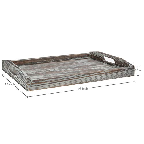 MyGift 16 X 12 Inch Rustic Torched Wood Breakfast Serving Tray With Cutout Handles 0 2