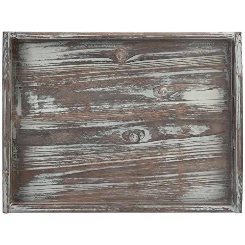 MyGift 16 X 12 Inch Rustic Torched Wood Breakfast Serving Tray With Cutout Handles 0 3