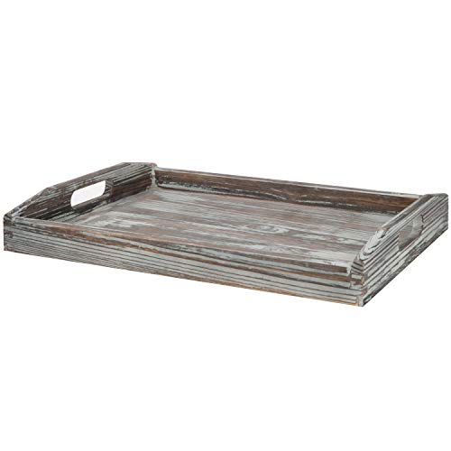 MyGift 16 X 12 Inch Rustic Torched Wood Breakfast Serving Tray With Cutout Handles 0 4