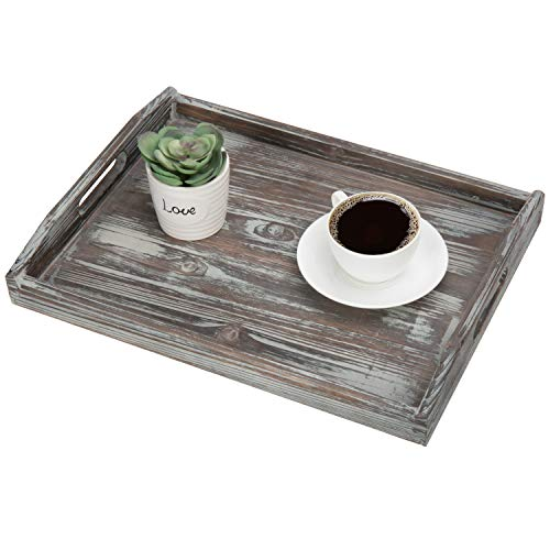MyGift 16 X 12 Inch Rustic Torched Wood Breakfast Serving Tray With Cutout Handles 0