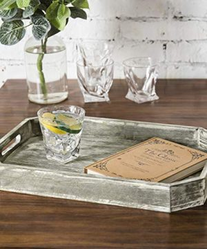 MyGift Country Rustic Wood Serving Tray With Cutout Handles And Angled Edges 0 0 300x360