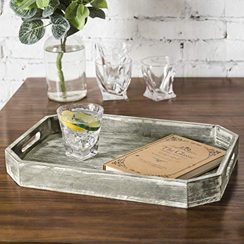 MyGift Country Rustic Wood Serving Tray With Cutout Handles And Angled Edges 0 0