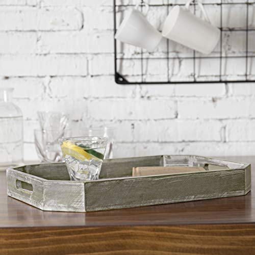 MyGift Country Rustic Wood Serving Tray With Cutout Handles And Angled Edges 0 1