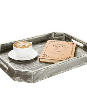 MyGift Country Rustic Wood Serving Tray With Cutout Handles And Angled Edges 0 2 300x360