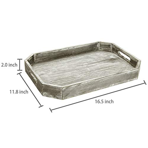 MyGift Country Rustic Wood Serving Tray With Cutout Handles And Angled Edges 0 4