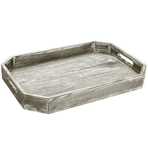 MyGift Country Rustic Wood Serving Tray With Cutout Handles And Angled Edges 0