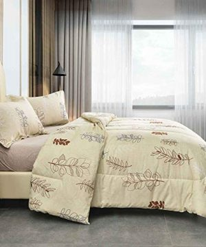NANKO Queen Comforter Set 3pc 88 X 90 Inch Beige Floral Flower Pattern Printed Soft Microfiber Bedding All Season Quilted Comforter With 2 Pillowshams Farmhouse Bed Set For Women Men Yellow Leaf 0 0 300x360