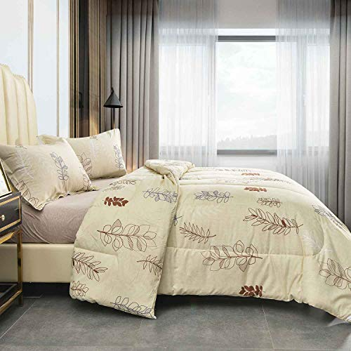 NANKO Queen Comforter Set 3pc 88 X 90 Inch Beige Floral Flower Pattern Printed Soft Microfiber Bedding All Season Quilted Comforter With 2 Pillowshams Farmhouse Bed Set For Women Men Yellow Leaf 0 0