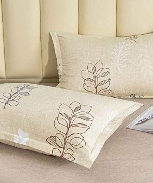 NANKO Queen Comforter Set 3pc 88 X 90 Inch Beige Floral Flower Pattern Printed Soft Microfiber Bedding All Season Quilted Comforter With 2 Pillowshams Farmhouse Bed Set For Women Men Yellow Leaf 0 4 300x360