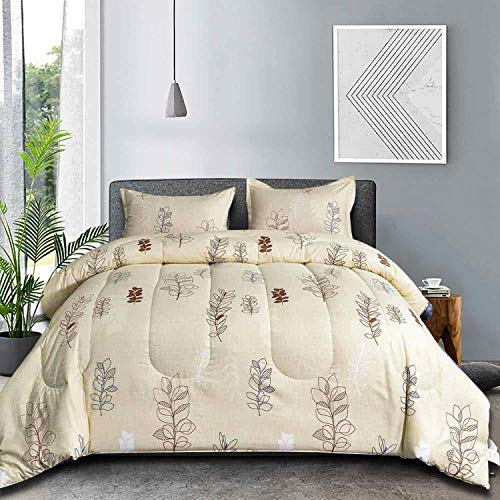 NANKO Queen Comforter Set 3pc 88 X 90 Inch Beige Floral Flower Pattern Printed Soft Microfiber Bedding All Season Quilted Comforter With 2 Pillowshams Farmhouse Bed Set For Women Men Yellow Leaf 0