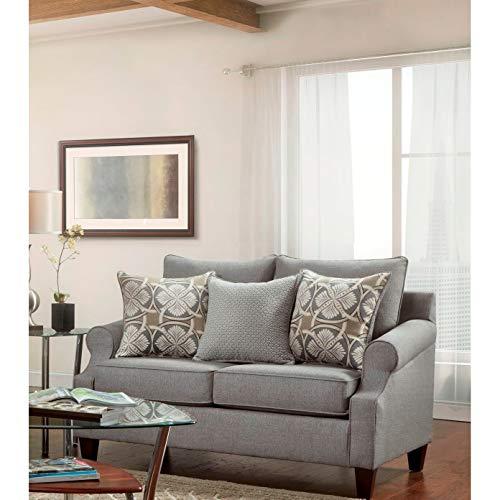 Overstock SofaTrendz Brinkley 2 Piece Grey Sofa And Loveseat 0 1