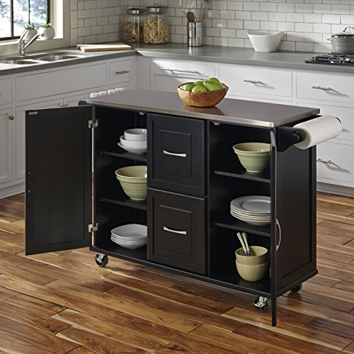 Patriot Black Kitchen Cart With Stainless Steel Top By Home Styles 0 0