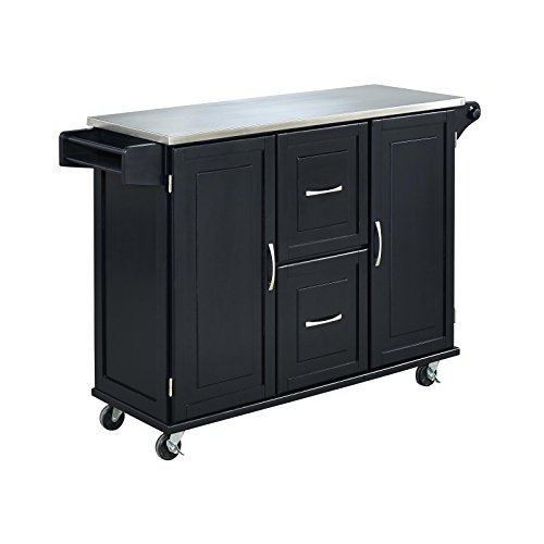 Patriot Black Kitchen Cart With Stainless Steel Top By Home Styles 0 1