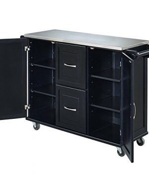 Patriot Black Kitchen Cart With Stainless Steel Top By Home Styles 0 2 300x360
