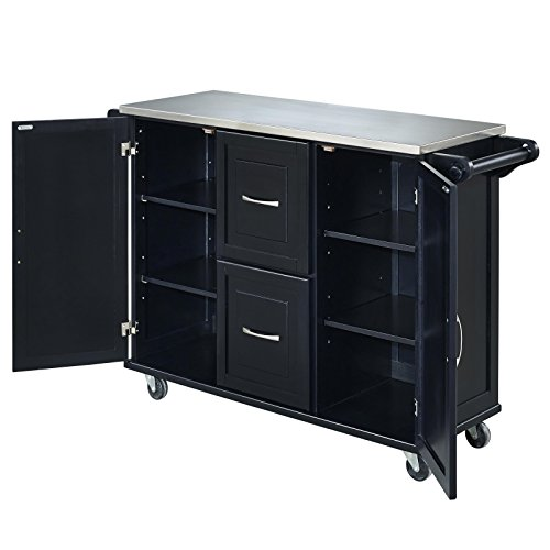 Patriot Black Kitchen Cart With Stainless Steel Top By Home Styles 0 2