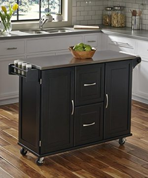 Patriot Black Kitchen Cart With Stainless Steel Top By Home Styles 0 300x360