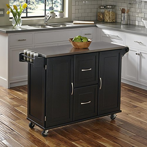 Patriot Black Kitchen Cart With Stainless Steel Top By Home Styles 0