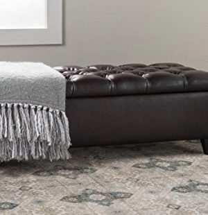 Polmor Home Faux Leather Birch Wood Tufted Storage Ottoman Bench 0 300x310