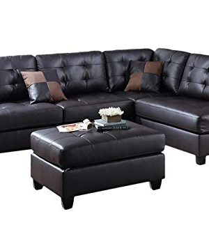 Poundex Bobkona Matthew Faux Leather Left Or Right Hand Chaise SECTIONAL Set With Ottoman In Espresso 0 300x333