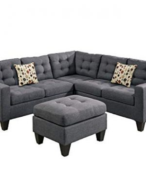 Poundex Bobkona Norton Linen Like 4 Piece Sectional With Ottoman Set Blue Grey 0 300x360