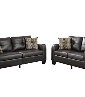 Poundex Bobkona Spencer Bonded Leather 2Piece Sofa Loveseat Set In Espresso 0 300x340