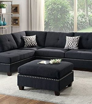 Poundex Bobkona Viola Linen Like Polyfabric Left Or Right Hand Chaise Sectional Set With Ottoman Pack Of 3 Black 0 300x338