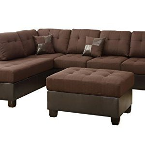 Poundex Bobkona Winden Blended Linen 3 Piece Reversible Sectional Sofa With Ottoman Chocolate 0 300x333