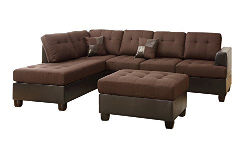 Poundex Bobkona Winden Blended Linen 3 Piece Reversible Sectional Sofa With Ottoman Chocolate 0