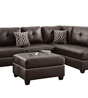 Poundex F6973 Bobkona Viola Faux Leather Left Or Right Hand Chaise Sectional Set With Ottoman Pack Of 3 Espresso 0 300x333