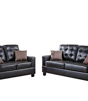 Poundex F7857 Bobkona Aria Faux Leather 2 Piece Sofa And Loveseat Set Espresso 0 300x343