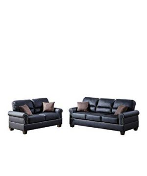 Poundex F7877 Bobkona Shelton Bonded Leather 2 Piece Sofa And Loveseat Set Black 0 300x360