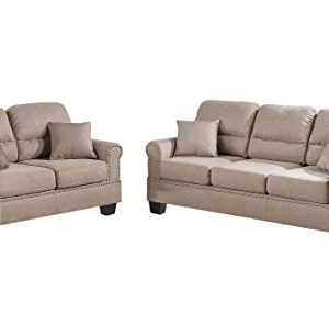 Poundex F7879 Bobkona Shelton Linen Like 2 Piece Sofa And Loveseat Set Sand 0 300x286