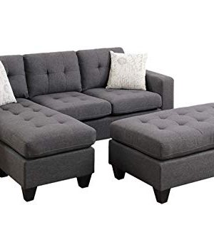 Poundex One Sectional With Ottoman And 2 Pillows In Gray Blue Grey 0 300x333