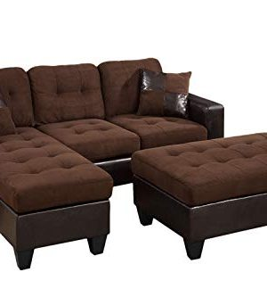 Poundex Reversible Sectional Sofa Set With Ottoman Chocolate With Espresso Faux Leather Base 0 300x333