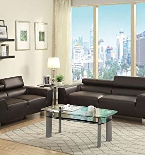 Poundex Sofa And Loveseat Set With Head Rest Espresso Bonded Leather 0 300x321