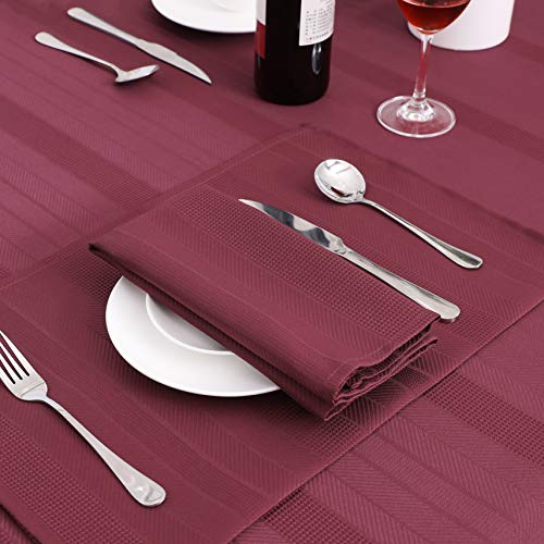 Randall Waffle Stripe Placemats 4pcs Set Heat Insulated Resistant Spot Clean Machine Washable Soft And Durable For Kitchen Dining Office Farmhouse 1218 Wine Red 0 2