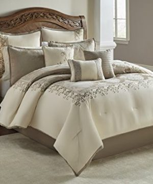 Riverbrook Home Polyester Comforter Set Queen Set Of 9 Hillcrest IvoryGold 9 Piece 0 300x360