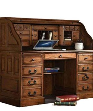 Roll Top Desk Solid Oak Wood 54 Inch Deluxe Executive Oak Desk Burnished Walnut Stain For Home Office Secretary Organizer Roll Hutch Top Easy Assembly Quality Crafted Construction 0 300x360