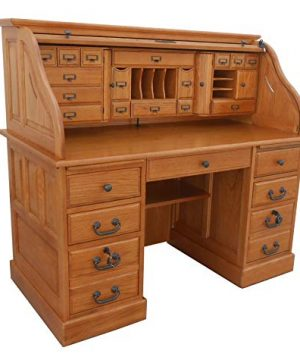 Roll Top Desk Solid Oak Wood 54 Inch Deluxe Executive Oak Desk Harvest Stain Home Office Secretary Organizer Roll Hutch Top Easy Assembly Quality Crafted Construction Locking File Drawers Dovetailed 0 300x360